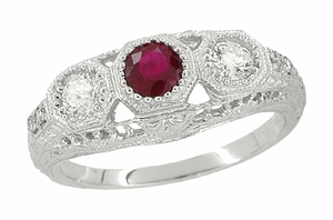 "Filigree ""Three Stone"" Edwardian Ruby and Diamond Engagement Ring in Platinum - Click to enlarge"