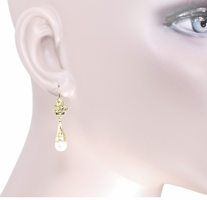 Victorian Fleur de Lys Pearl Drop Earrings in 14 Karat Yellow Gold - Item E125 - Image 2