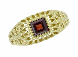 Art Deco Egyptian Motif Filigree Garnet Ring in 14 Karat Yellow Gold - Click to enlarge