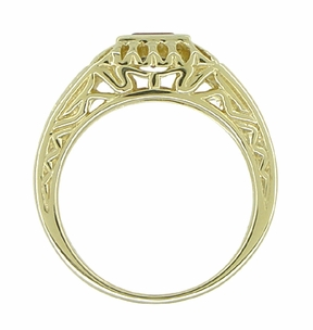 Art Deco Egyptian Motif Filigree Garnet Ring in 14 Karat Yellow Gold - Item R1152 - Image 3