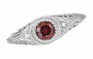 Art Deco Engraved Rhodolite Garnet and Diamond Filigree Engagement Ring in Platinum - Click to enlarge