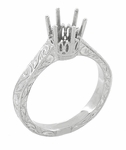 Art Deco 3/4 Carat Crown Filigree Scrolls Engagement Ring Setting in Palladium
