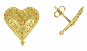 Hand Granulated Heart Earrings in 18 Karat Gold - Click to enlarge