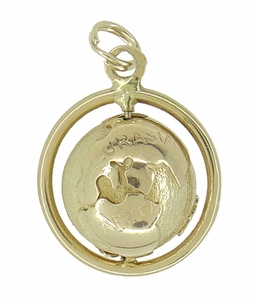 Spinning Globe Movable Charm in 14 Karat Gold - Click to enlarge