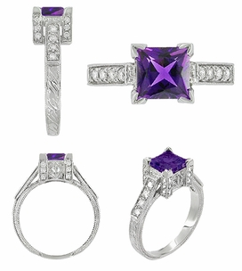 Art Deco 1 Carat Princess Cut Amethyst and Diamond Engagement Ring in Platinum - Click to enlarge
