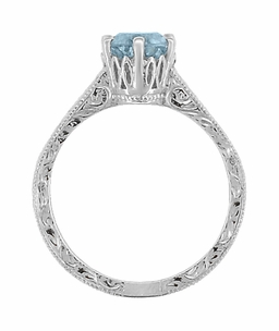 Art Deco Crown Filigree Scrolls 1 Carat Aquamarine Engraved Engagement Ring in 18 Karat White Gold - Click to enlarge