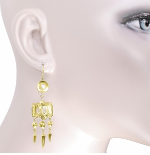 Victorian Engraved Dangle Pearl Earrings in 15 Karat Yellow Gold - Click to enlarge