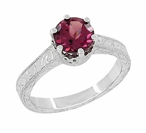 Art Deco Crown Filigree Scrolls 1.5 Carat Rhodolite Garnet Engagement Ring in 18 Karat White Gold - Click to enlarge