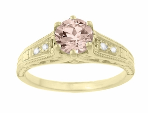 Art Deco Yellow Gold Antique Style Morganite and Diamond Engagement Ring - Click to enlarge