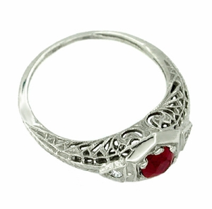 Ruby and Diamond Filigree Deco Ring in 14 Karat White Gold - Click to enlarge