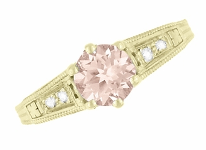 Art Deco 14K Yellow Gold Antique Style Morganite and Diamond Engagement Ring - Item R158YM - Image 5