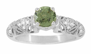 "Art Deco Filigree Green Sapphire and Diamond ""Charlene"" Engagement Ring in 14 Karat White Gold - Item R1190WGS - Image 2"