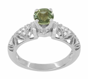 "Art Deco Filigree ""Charlene"" Green Sapphire Engagement Ring with Side Diamonds in 14 Karat White Gold - Item R1190WGS - Image 3"