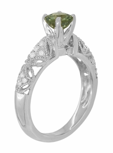 "Art Deco Filigree ""Charlene"" Green Sapphire Engagement Ring with Side Diamonds in 14 Karat White Gold - Item R1190WGS - Image 5"