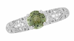 "Art Deco Filigree ""Charlene"" Green Sapphire Engagement Ring with Side Diamonds in 14 Karat White Gold - Item R1190WGS - Image 7"