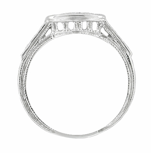 Art Deco Diamond Engraved Filigree Contoured Wedding Ring in 18 Karat White Gold - Item WR664 - Image 1
