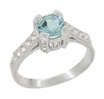 Art Deco Engraved Castle 1 Carat Aquamarine Engagement Ring in 18 Karat White Gold