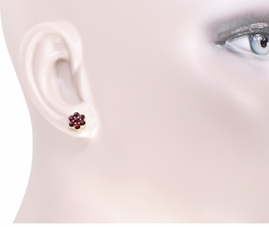 Bohemian Garnet Flower Victorian Stud Earrings in 14 Karat Yellow Gold and Sterling Silver Vermeil - Item E131 - Image 1