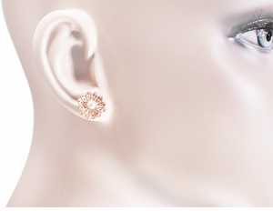 Victorian Sunflower 14 Karat Rose Gold Pearl Earrings - Item E121R - Image 1