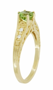 Art Deco Filigree Peridot and Diamond Engagement Ring in 14 Karat Yellow Gold - Click to enlarge