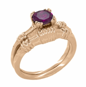 Art Deco Hearts and Clovers Rhodolite Garnet Engagement Ring in 14 Karat Rose Gold - Item R707RRG - Image 2