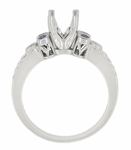 Eternal Stars 3/4 Carat Diamond and Sapphire Engraved Fleur De Lis Engagement Ring Mounting in 14K White Gold | 5.5mm - Item R841RS - Image 4