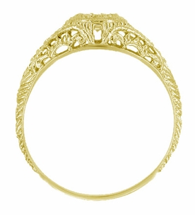 Art Deco Engraved Filigree Diamond Engagement Ring in 18 Karat Yellow Gold - Item R464Y - Image 1