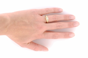 Art Deco Engraved Filigree Diamond Engagement Ring in 18 Karat Yellow Gold - Click to enlarge