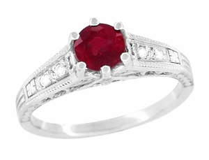 Art Deco Antique Ruby and Diamond Filigree Engagement Ring Design in 14 Karat White Gold - Click to enlarge