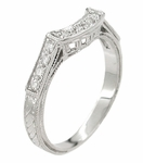 Art Deco Diamonds Filigree Engraved Wheat Curved Wedding Ring in 18 Karat White Gold