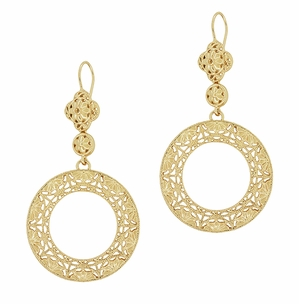 Art Deco Circle of Love Sterling Silver Drop Dangle Filigree Earrings with Yellow Gold Vermeil - Item E170Y - Image 1