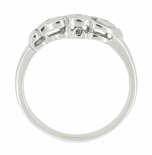 Retro Moderne Diamond Set Filigree Hearts Wedding Ring in 14 Karat White Gold - Click to enlarge