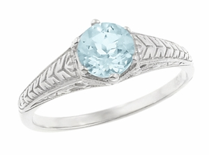 Art Deco Scrolls and Wheat Aquamarine Solitaire Filigree Engraved Engagement Ring in Platinum - Click to enlarge