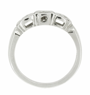 Retro Moderne Filigree Scalloped Diamond Wedding Band in 14 Karat White Gold - Click to enlarge