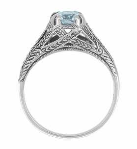 Art Deco Blue Topaz Filigree Engraved Engagement Ring in Sterling Silver - Click to enlarge