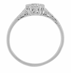 Art Deco Filigree White Sapphire Engagement Ring in 18 Karat White Gold  - Item R298WWS - Image 1