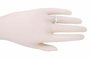Art Deco Filigree White Sapphire Engagement Ring in 18 Karat White Gold  - Item R298WWS - Image 3