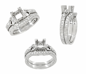 Loving Hearts 1/2 Carat Diamond Engraved Antique Style Engagement Ring Setting in 18K White Gold | 4.5mm Princess | 5mm Round - Item R459W50 - Image 3