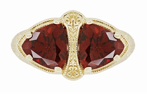 Art Deco Filigree Almandite Garnet Loving Duo Ring in 14 Karat Yellow Gold - Item R1129YG - Image 4