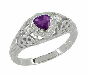 Art Deco Heart Shaped Amethyst and Diamond Filigree Ring in 14 Karat White Gold - Click to enlarge