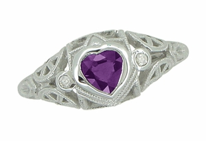 Art Deco Heart Shaped Amethyst and Diamond Filigree Ring in 14 Karat White Gold - Item R1119A - Image 2