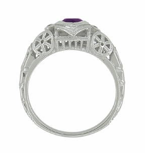 Art Deco Heart Shaped Amethyst and Diamond Filigree Ring in 14 Karat White Gold - Item R1119A - Image 4