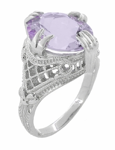Rose de France Oval Art Deco Filigree Right Hand Ring in 14 Karat White Gold - Item R157WRF - Image 2