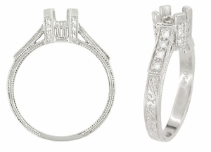 Art Deco Engraved Filigree Castle 1 Carat Diamond Engagement Ring Mounting in 18 Karat White Gold - Click to enlarge