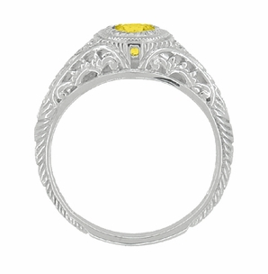 Art Deco Engraved Yellow Sapphire and Diamond Filigree Engagement Ring in 14 Karat White Gold - Item R138YES - Image 2