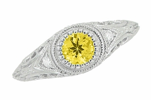 Art Deco Engraved Yellow Sapphire and Diamond Filigree Engagement Ring in 14 Karat White Gold - Click to enlarge