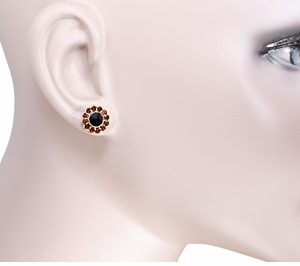 Bohemian Garnet Flower Blossom Stud Earrings in 14 Karat Yellow Gold and Sterling Silver Vermeil - Click to enlarge