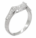 Art Deco Diamond Engraved Filigree Contoured Wedding Ring in 18 Karat White Gold