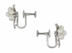 Vintage Mikimoto Pearl Cluster Earrings in Sterling Silver - Item E160 - Image 1