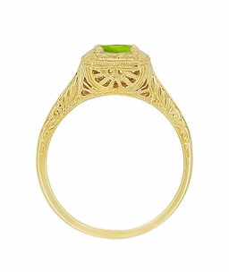 Peridot Filigree Scrolls Engraved Engagement Ring in 14 Karat Yellow Gold - Click to enlarge